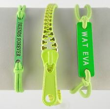 Three Assorted Bracelets Green Color Wat Eva, Friends Forever, Zipper Unisex