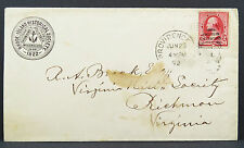 Rohde Island Historical Society 1882 Advertising Cover EF USA Brief (Lot 5247