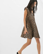 ZARA LEOPARD ANIMAL PRINT SKATER DRESS SIZE SMALL REF 2603 717