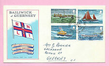 GUERNSEY 1974 Official FDC - ROYAL NATIONAL LIFEBOAT INST. (RNLI) - Vgc