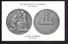 MEDAILLES sur carte postale les médailles de la monnaie STe CATHERINE Delannoy