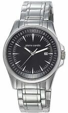 Pierre Cardin Men Watch PC104511F01 Black DATE DIAL Stainless STRAP $120 NEW