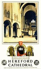 Hereford Cathedral Railway Vintage Old Picture Oldschool Poster A3 A4 New