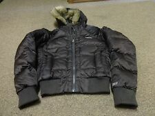 THE NORTH FACE JACKET DOWN 550 HOODIE FUR SZ S WOMEN HIKING SPORT BROWN