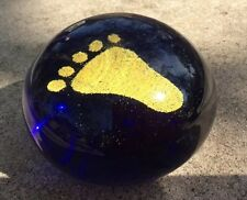 Golden Footprint In The Sand Art Glass Paperweight Cobalt Blue Beach Decor NOS
