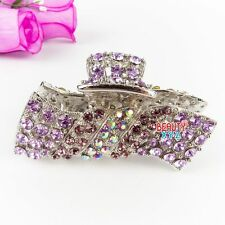 New Purple color Austrian Crystal Metal Hair Claw Clip in Rectangular Shape