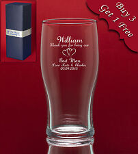 Personalised Engraved Pint Glass-Any Message/Image-Weddings Birthday Fathers Day