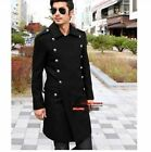 Mens Overcoat Jacket Wool Outerwear Military Breasted Trench Long Peacoat Coats
