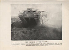 1918 WW1 WORLD WAR I WWI PRINT ~ TANK ADVANCE ON THE SOMME INFANTRY
