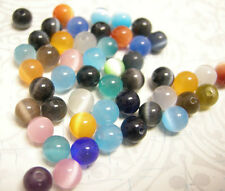50pcs 6mm mix color cat eye glass round beads-5737