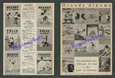 ORIG. publicité BD Mickey Felix the Cat Bonzo boxerhund Disney France 1934