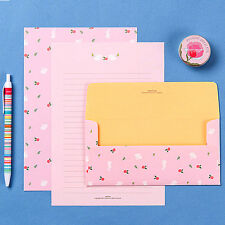 Cute Pink Rose Rabbit Letter set - 4sh writing stationary paper 2sh envelope