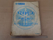 OWNER'S MANUAL YAMAHA YZ 490 K STAMPA 1982 MANUALE MANUTENZIONE CROSS MOTOCROSS