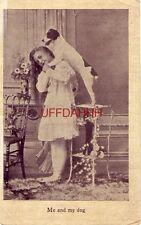 1908 ME AND MY DOG - young girl poses with terrier