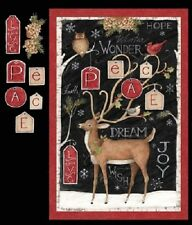 PEACE REINDEER HOLLY LARGE CHRISTMAS FABRIC PANEL