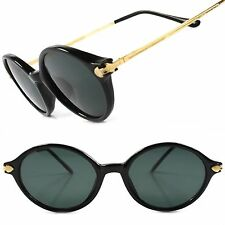 Gold Black Old 70s True Vintage Hippie Fashion Mens Womens Round Oval Sunglasses