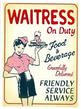 WAITRESS ON DUTY Retro Vintage HQ FRIDGE MAGNET