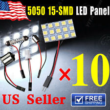 10X White 5050 15SMD Panel Map Dome Interior Light+1156 Festoon T10 BA9S Adapter