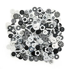 "200 Plastic Black & White Buttons Assortment 7/16"" - 5/8"" CRAFTS SEWING ART DIY"