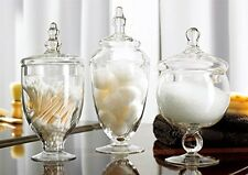 Apothecary 3 Piece Jar Set Buffet Clear Glass Lid Candy Wedding Gift Decor Jars
