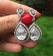 CZ STATEMENT WEDDING EARRINGS TEARDROP CUBIC ZIRCONIA DESIGNER BRIDE JEWELLERY
