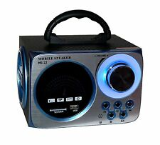 Portabel Akku Musik Box Musikbox Lautsprecher MP3 Player Micro-SD USB Radio Led