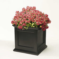 "Large 18"" Square Black Madison Flower Box Planter W/ Water Minder Feature"