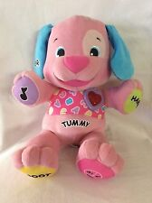 Fisher Price Laugh & Learn Interactive Pink Puppy TUMMY Plush Stuffed Animal