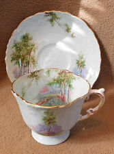 Aynsley Blue Cup and Saucer Birch Trees Gold Trim Four Sided Cup