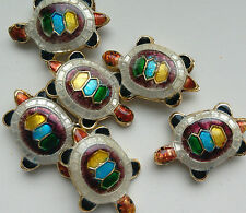 6 Tortoise Cloisonne Beads, White/Multicolour 20 x 13mm. Jewellery Making/Crafts