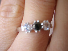 Black Diamond and Swarovski Crystal Trio Ring RRP £199 - L