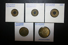 Lot of 5 Old Los Angeles Tokens CA Mission Village Camoa L.A.R.S. Co R.C.I.A.
