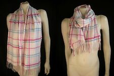 CHARTER CLUB 100% Cashmere Plaid White Pink Blue Scarf Muffler Fringe