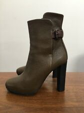 Balenciaga Olive Black Pebble Leather Brown Buckle High Heel Booties Italy 36 6