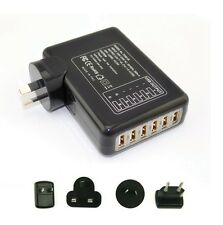 6 Ports 6Amp USB Multi Adapter Travel Wall Charger Supply UK/AU/US/EU Plug Black