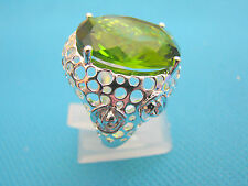 Silver Plated Ring With Created Peridot Size Q, US 8 (rg0943)