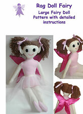 "Fairy rag doll sewing pattern 24"" high, large fairy EASY INSTRUCTIONS"