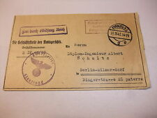 alter Feldpost Brief Ladung zur Testamentseröffnung Amtsgericht Stralsund 1942