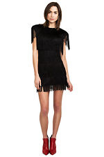 French Connection 1920's Black Fringe Flapper Gatsby Charleston Party Dress 10