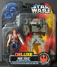 Kenner Star Wars Deluxe Han Solo w/Smuggler Flight Pack-NEW-Blaster Cannons