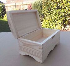 PLAIN WOODEN CHEST JEWELLERY STORAGE BOX  & LOCK FOR ART CRAFT  / DECOUPAGE