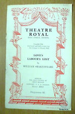 Theatre Royal Bristol,Programme 1951- LOVE'S LABOUR'S LOST by William Shakespear