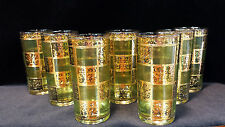 VINTAGE CULVER 22K GOLD & GREEN HIGHBALL COCKTAIL TUMBLER GLASSES LOT OF 7