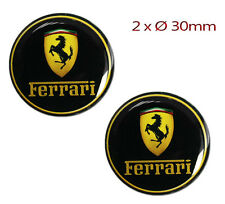 2 FERRARI SILICONE STICKERS DOMED AUTO MOTO CAR BADGE EMBLEM MIRROR PLATE RACING