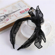 Black Korean Style Women Girl Bunny Rabbit Ear Dot Gauze Hair Band Headband