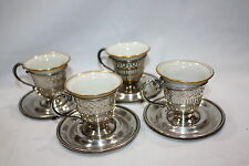 "4 STERLING DEMITASSE CUP HOLDERS SAUCERS W/PORCELAIN LINERS SACERS 3 1/2"" CUPS"