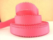 2 METRE PINK WAVE EDGE GROSGRAIN RIBBON SIZE 7/8 BOWS HEADBANDS HAIR CAKE