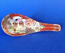 Nippon Signed Satsuma Porcelain Spoon - Hand Painted Imari Designs With Geisha