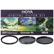 Hoya 72mm UV HMC + Cicular Polarizer CPL + NDx8 3-piece Filter Kit - Brand New