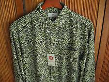 NWT Mens Silk Camp Shirt Floral Button up Long Sleeved Green Hawaiian New Large